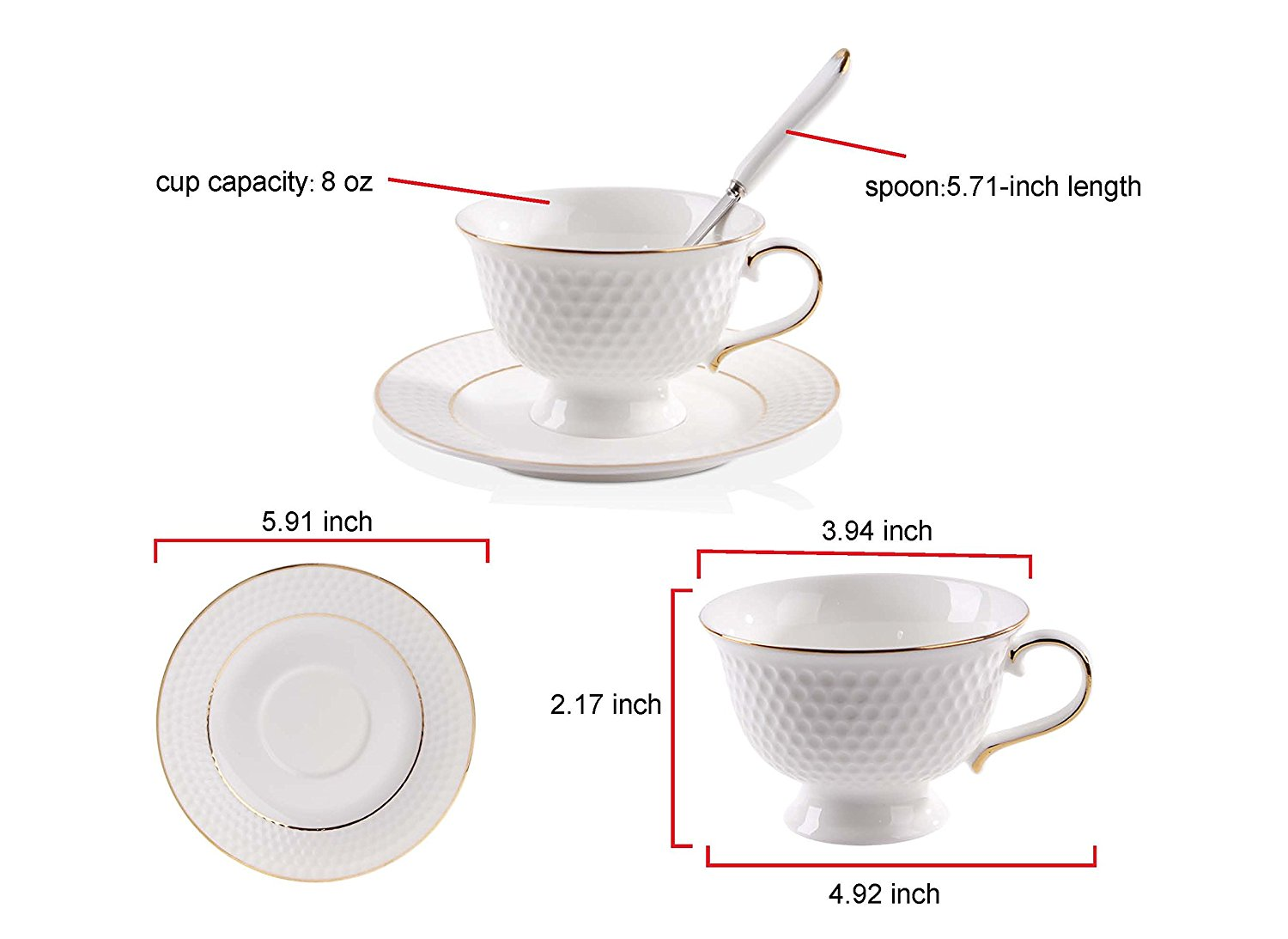Porcelain Tea Cup And Saucer Coffee Set With Spoon Of 6 Si Glf W